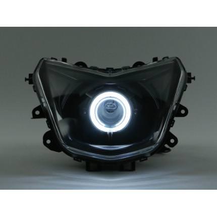 魚眼ヘッドライト PVCイカリング白 HID40W 6000K コンプリートキット GAMMAS シグナスX(CYGNUS-X)4型 SEA5J