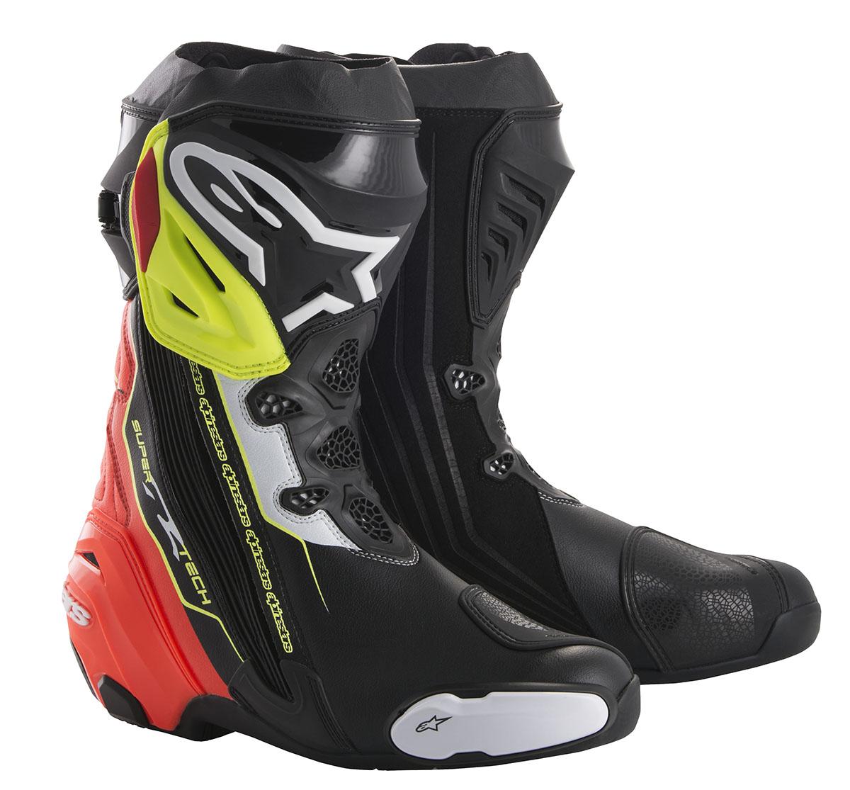スーパーテックR ブーツ ブラック/レッド/イエローFLUO 42/26.5cm アルパインスターズ(alpinestars)