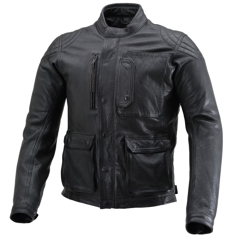 DL-501 スクランブラージャケット(レザー ジャケット) ブラック 2XLサイズ DAYTONA(デイトナ)