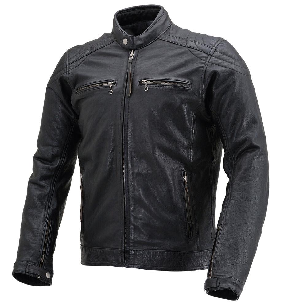 DL-006 カフェライダースジャケット(レザー ジャケット) ブラック Lサイズ DAYTONA(デイトナ)