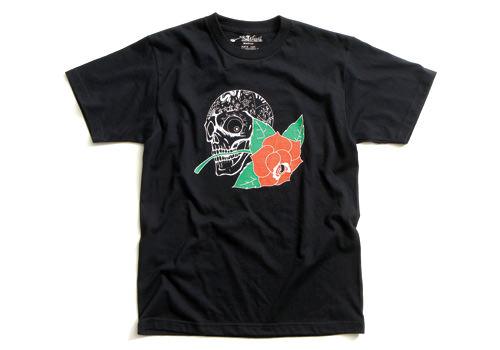 ERオリジナル Tシャツ(ERS51)SKULL AND ROSE Lサイズ 黒 EASYRIDERS(イージーライダース)