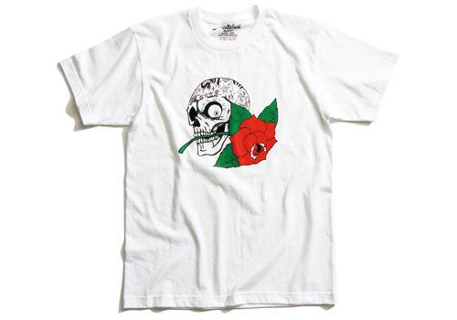 ERオリジナル Tシャツ(ERS50)SKULL AND ROSE Lサイズ 白 EASYRIDERS(イージーライダース)