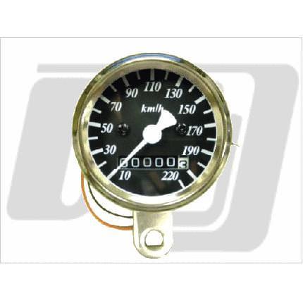 48mmスピードメーター黒2:1機械式 GUTS CHROME(ガッツクローム)