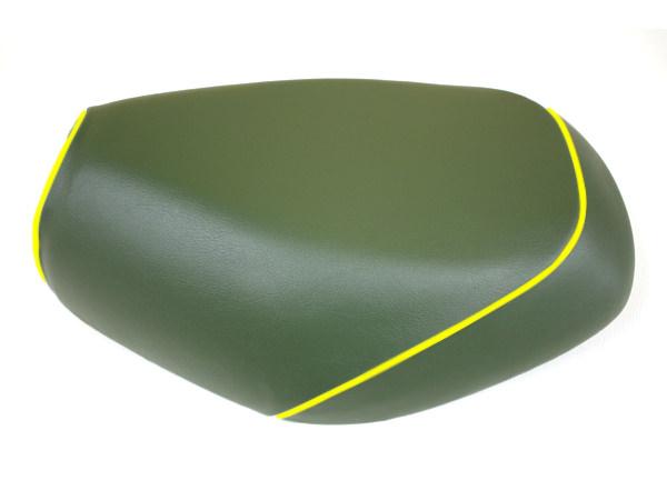 被せタイプ 国産シートカバー ダークグリーン/黄色パイピング GRONDEMENT(グロンドマン) タクト(TACT)AF30