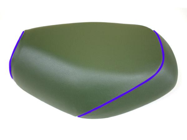 被せタイプ 国産シートカバー ダークグリーン/青パイピング GRONDEMENT(グロンドマン) タクト(TACT)AF30