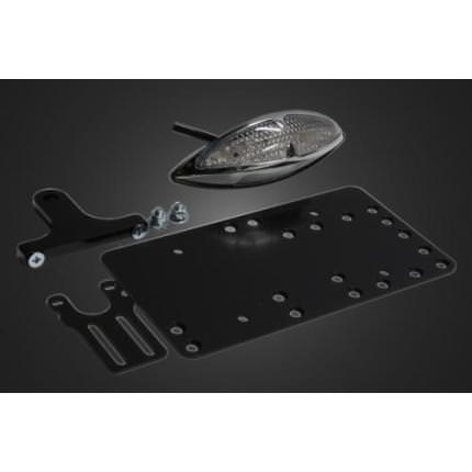 サイドナンバーキット グラステールランプLED(クリア) スティード400用取り付けステー付 ガレージT&F