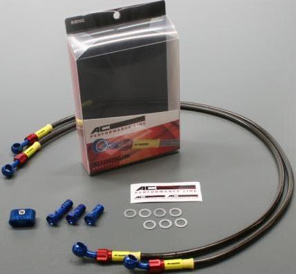 ビルドアライン ボルトオンブレーキホースキット フロント用 Sダイレクト ブルー/レッド スモークホース GOODRIDGE(グッドリッジ) W800(11〜12年)