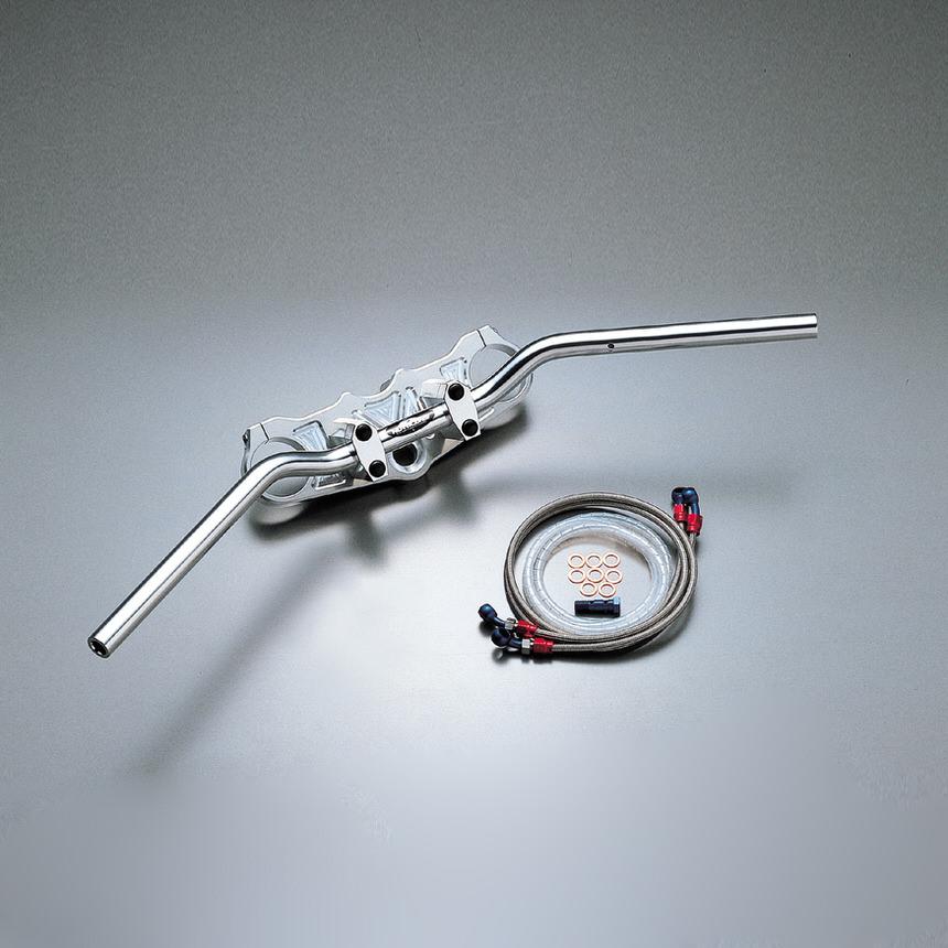 バーハンドルキット(ジュラルミンコンチ3型ハンドル)ブレーキホース アールズ アルミ製 HURRICANE(ハリケーン) ZX-12R(〜01年 A1、A2、A2A)