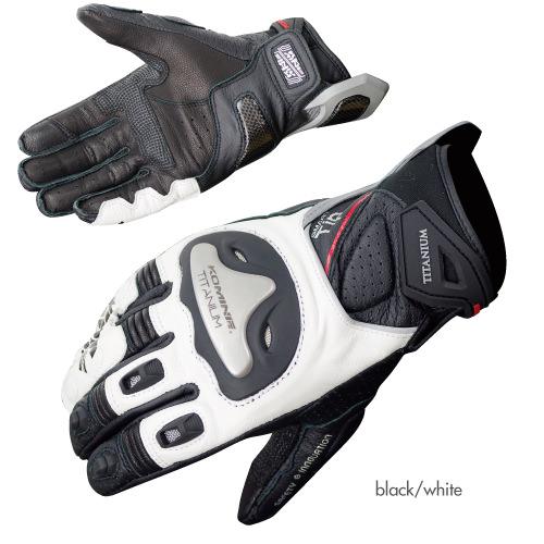 GK-170 チタニウムスポーツグローブ ブラック/ホワイト Lサイズ コミネ(KOMINE)