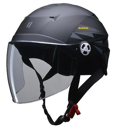 ZORK 開閉シールド付きハーフヘルメット マットブラック 大きめフリー(60〜62cm) リード工業