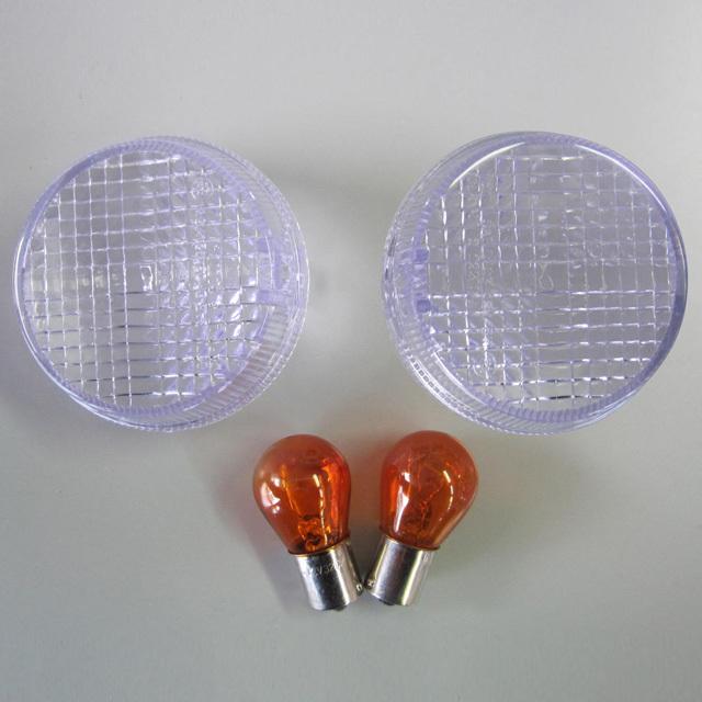 クリアウインカー・レンズセット LEDバルブ付属 フロント用 ODAX(オダックス) VTX1300