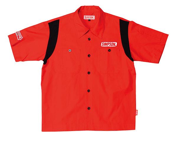 MSH-011 メカニックシャツ レッド Lサイズ SIMPSON(シンプソン)