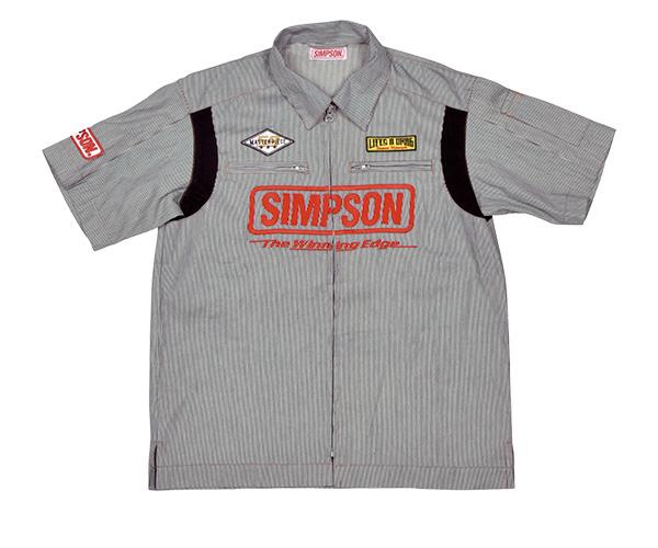 MSH-051 メカニックシャツ ヒッコリー Lサイズ SIMPSON(シンプソン)