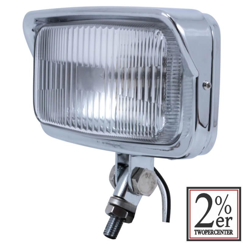 ビンテージスタイル スクエア ヘッドライト H3バルブ クローム仕上げ 2%er(ツーパーセンター)